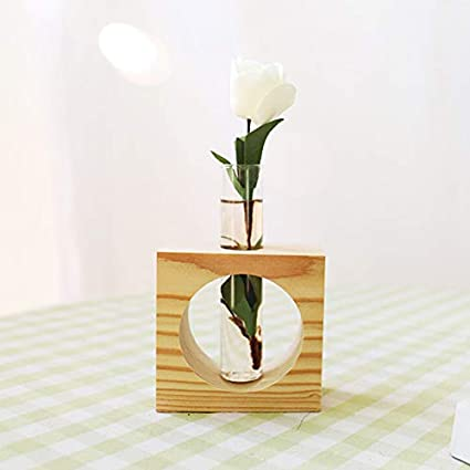 Home Decor Wood Stand Glass Planter Test Tube Flower Vase Hydroponic Plants Home, Furniture & DIY 5-White