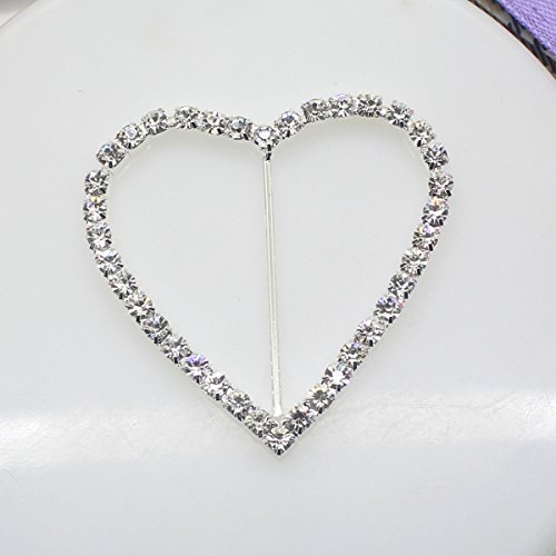(8pcs 51mm x 40mm Heart Shaped Rhinestone Buckle Slider for Wedding Invitation Letter)