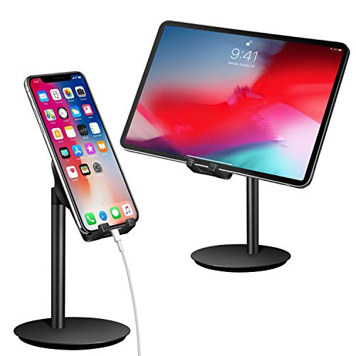 Cell Phone Stand, Tablet Holder, SAIJI Adjustable Swivel Aluminum Mount Dock, Compatible with iPhone Samsung Cell Phone, Tablet, iPad, Nintendo Switch, Kindle, Up to 10 Inch Screen (Black1)