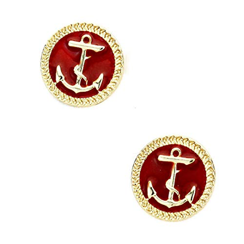 Golden Anchor Post Earrings with Red Enamel