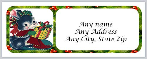(120 Personalized Return Address Labels Christmas Cute Bunnie (ac 127))