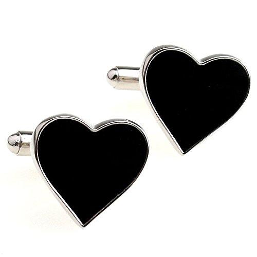 The Heart Shaped Women's Dress Shirt Cufflinks One Pair Black