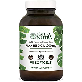 Natural Nutra Organic Flaxseed Oil Softgels, Plant Based Omega 3 6 9, Fatty Acids Supplement (ALA, LA and Oleic Acid), Cold Pressed, 1000 mg, 90 Capsules