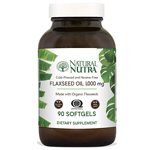 (Natural Nutra Organic Flaxseed Oil Softgels, Plant Based Omega 3 6 9, Fatty Acids Supplement (ALA, LA and Oleic Acid), Cold Pressed, 1000 mg, 90 Capsules)