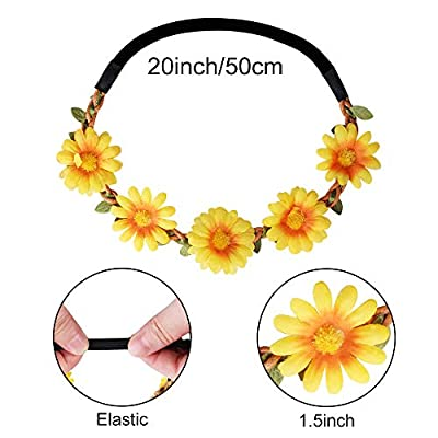 ONESING 4 Pcs Hippie Costume Set Flower Headband Rainbow Peace Sign Necklaces Hippie Sunglasses 60s or 70s Hippie Accessories for Women Men Couples: Toys & Games