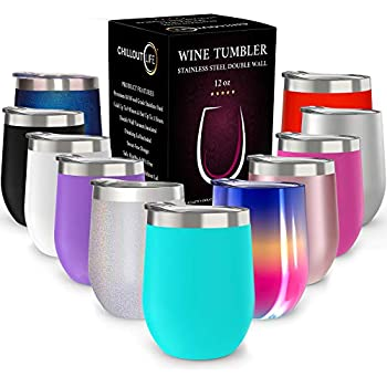 CHILLOUT LIFE 12 oz Stainless Steel Tumbler with Lid & Gift Box   Wine Tumbler Double Wall Vacuum Insulated Travel Tumbler Cup for Coffee, Wine, Cocktails, Ice Cream   Sweat Free, Powder Coated Tumble