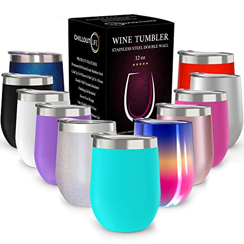 (CHILLOUT LIFE 12 oz Stainless Steel Tumbler with Lid & Gift Box | Wine Tumbler Double Wall Vacuum Insulated Travel Tumbler Cup for Coffee, Wine, Cocktails, Ice Cream | Sweat Free, Powder Coated Tumble)