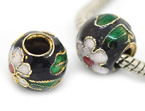 2PCs Black Pink Green Flowers Cloisonne Metal Bead for European Charm Bracelets id-1763