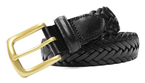 796-BLK-50 - Big & Tall Toneka Men's Woven Cowhide Full grain Braided Leather Belt with Brass Buckle - Big Brass Buckle