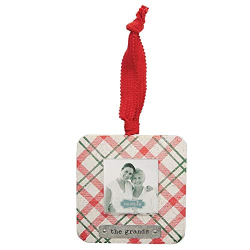Mud Pie The Grands Plaid Pattern Wooden Christmas Photo Frame Ornament (Wood Pie Picture Mud Frame)