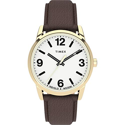 Timex Men's Easy Reader Bold 38mm Watch – Gold-Tone Case White Dial with Brown Leather Strap