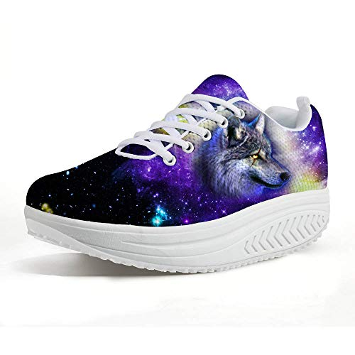 FOR U DESIGNS Purple Galaxy Space Women Shoes,Cool Wolf Head Platform Swing Wedges,Mesh Shake Wedges US -