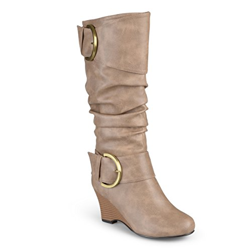 Journee Collection Womens Tall Faux Leather Buckle Boots