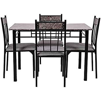 Amazon Com Wakrays 5 Pc Faux Marble Dining Set Table And