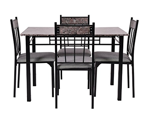 Wakrays 5 Pc Faux Marble Dining Set Table And 4 Chairs Ki.
