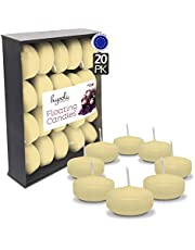 HYOOLA Premium Ivory Floating Candles Pack - Burn Time 4 Hours - 2 Inch Ivory Candles - Made in Europe