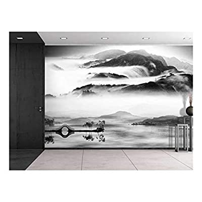 Fascinating Craft, Quality Creation, Black and White Bridge Over a Lake with a Foggy Mountain View Wall Mural