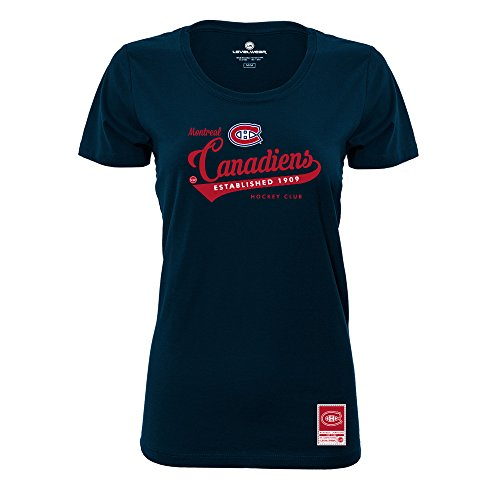 NHL MONTREAL Canadiens Ladies Capital Script Short sleeve Tee, Medium, Solid (Script Short Sleeve Tee)