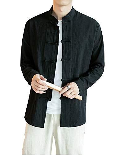 Manches Longue Costume Tang Blouse Veste Manteau fu Noir Et Vêtement De Chinois Kung Coton Rétro Lin Chemise Homme xHAqff