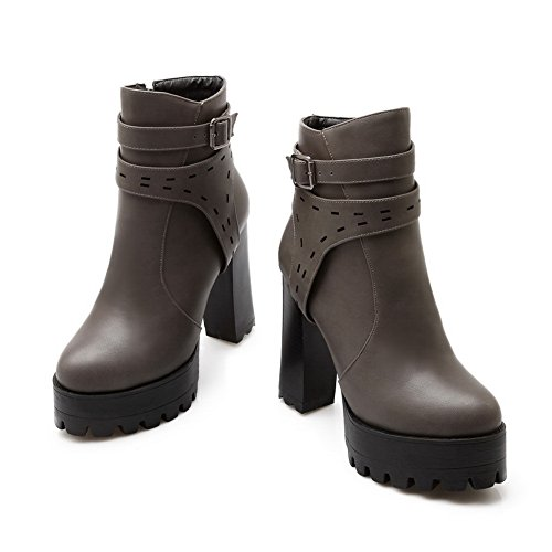 Imitated Buckle Platform Chunky Heels Girls Leather Boots 1TO9 Gray RwqpIXn