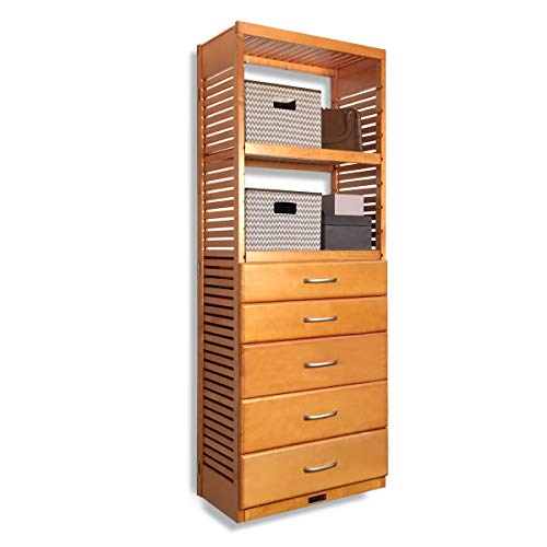 John Louis Home 16in. Deep Storage Tower - with 5 Drawers - 6in, 8in. Deep, Honey Maple Finish ()