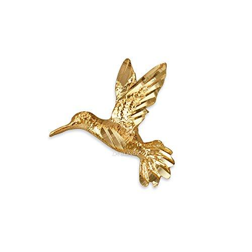 LA BLINGZ 10K Yellow Gold Flying Hummingbird DC Charm Pendant