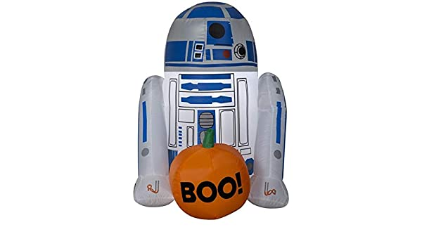 Gemmy 3 Airblown R2 D2 w/Boo Pumpkin Star Wars Halloween Inflatable