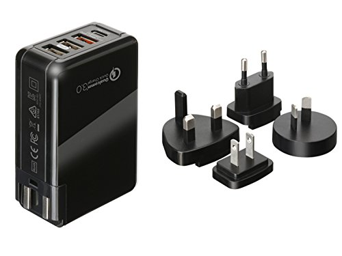 Price comparison product image Universal Travel Power Adapter - All in One Worldwide International Wall Charger AC Plug Adapter with Smart Power USB and 3.0A USB Type-C For USA EU UK AUS (Black-Multi charger adapter)