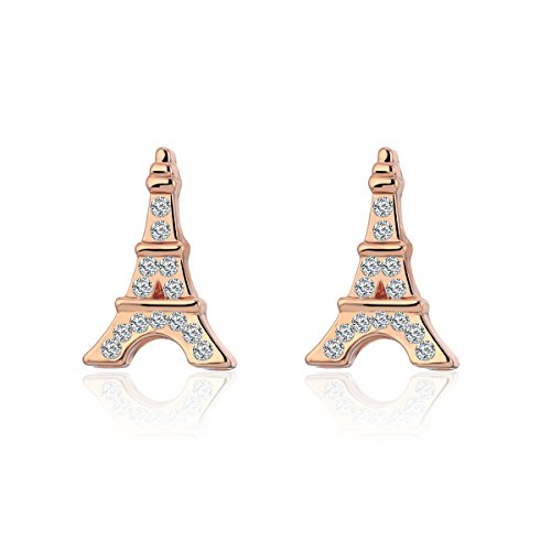(Stud Earring for Women,Eiffel Tower Earring Stud Girls Gold Silver Dangle Earring Small Stainless Steel Earring (Rose Gold Plated)