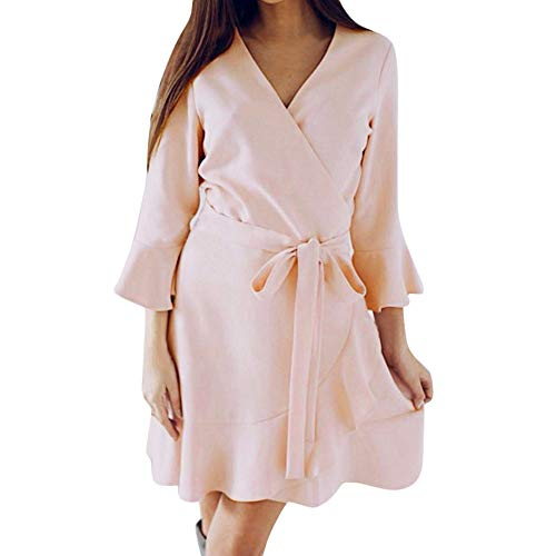 - ANJUNIE Women Autumn Long Slevel Short Swing Dress V Neck Lace Up Solid Mini Dress (Pink,XXL)