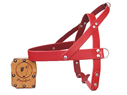 Red Leather Dog Harness, Ideal for All Breeds, Adjustable Dog Harness, YupCollars, Made in Italy
