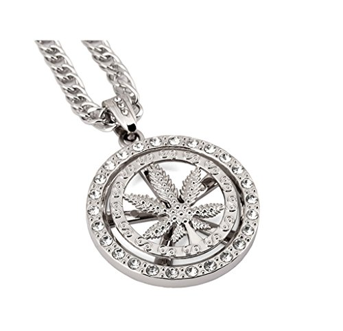 "Tidoo Jewelry ""IN MARIJUANA WE TRUST"" Men's Weed Leaf Pendant Necklace with FREE 30"" Chain 18k Real Gold/Silver Plated -Unique Valentine's Day Present Ideas for Men&Boy(SILVER)"