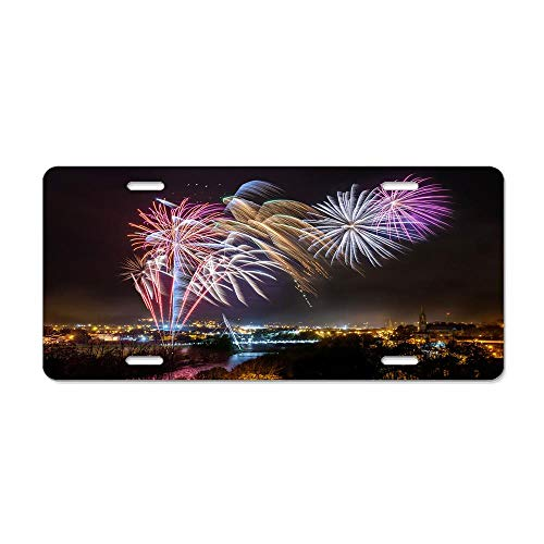 Strabane Halloween Fireworks Display 2017 License Plate, Car Licence Plate Covers Slim Design with Screws for US Standard 4 Holes Vanity Car Accessories 6