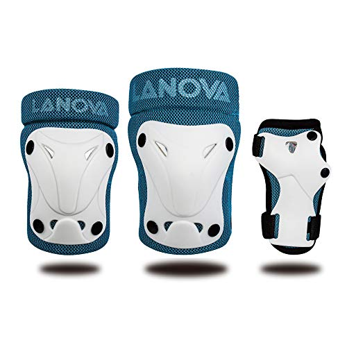 LANOVAGEAR Kids Youth Protective Gear Set, Knee and Elbow Pads with Wrist Guards for Multi-sports Outdoor Activities: Bike Cycling Bicycle Riding Rollerblading, Skating, Skateboarding, BMX (BLUE, S)