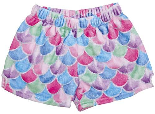 iscream Big Girls Silky Soft Print Plush Shorts - Mermaid Tail, Medium