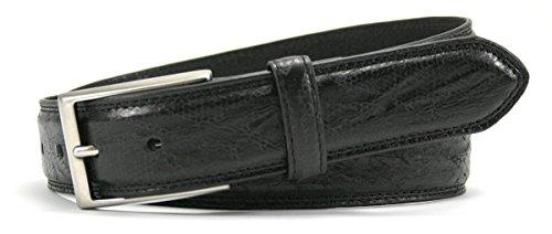 Leather Island 35mm Classic Eel Skin Black Leather (Bill Lavin Belts)