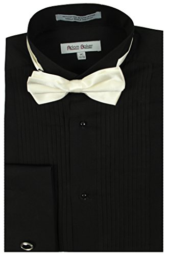 Adam Baker 1922 Men's Regular Fit Wingtip Collar French Cuff Tuxedo Shirt - Black - 16 2-3 Complete Black Tuxedo