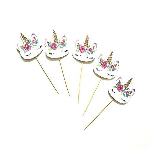 Ouken Lindo Unicornio Forma Pastel Topper Cupcake envolturas Pastel decoración Tarjeta para Baby Shower niños Fiesta de cumpleaños, 4pcs: Amazon.es: Hogar