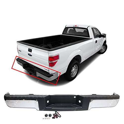 MBI AUTO - Steel Chrome, Complete Rear Bumper Assembly for 2009 2010 2011 2012 2013 2014 Ford F150, FO1103160