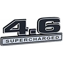 "Supercharger 4.6 Liter SUPERCHARGED Engine Chrome & Black Emblem Logo - 5"" Long"