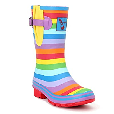 Women's Rain Boot Waterproof Mid-Calf Boots Rainbow Stripes Cute Animal Print Polka Dot Milky Wedding Rain Boots Wellies Rain Shoes UK Brand