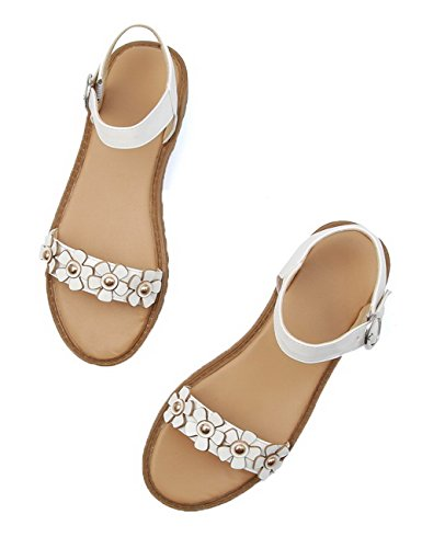 Heels Solid Low WeenFashion Sandals Open Buckle Toe White Women's Pu qpqOvwXW