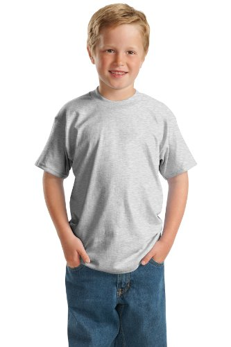 - Hanes 5.2 oz Youth COMFORTSOFT HEAVYWEIGHT 50/50 T-Shirt, XS-Ash