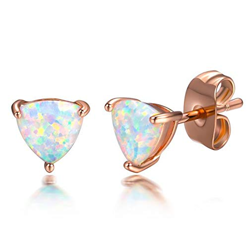 Peony.T Rose Gold Plated Triangle Opal Stud Earrings For Sensitive Ears Can Be A Gift by Peony.T