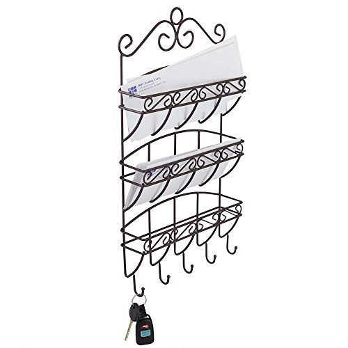 Home Basics Scroll Collection Wall Mount 3 Tier Steel Letter Rack Holder Organizer Mail Sorter, 3 Slots Storage Basket and 5 House Key & Car Key Hooks, Bronze