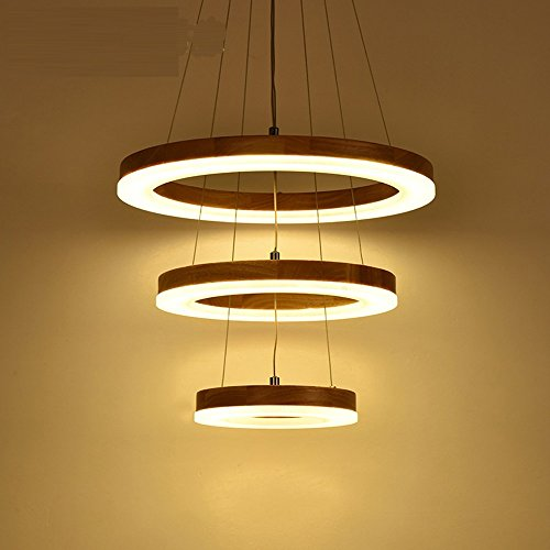 Ring Chandelier LED Village pendant light Living Room Head Simple Restaurant Solid Wood Circle lamps CL MZ133 LU1018 ( Size : 60 x 50 x 40xm - Wood Chandelier Circle