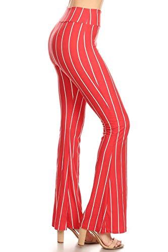 (PZA-S572-M Apricot Stripes Printed Stylish Palazzo Pants, Medium)