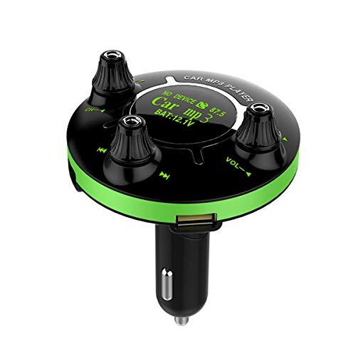 LIOOBO bt13 auto car USB Charger Adapter Splitter Converter fm Bluetooth USB Music Player (Green)