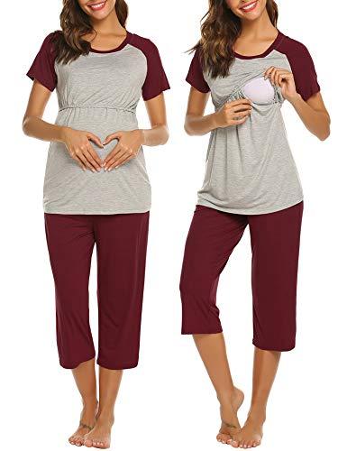 Ekouaer Nursing Pajamas for Women Baseball Ladies Maternity Pajama Set, Short Sleeve Shirt Capri Lounge Pants (Wine Red XL)
