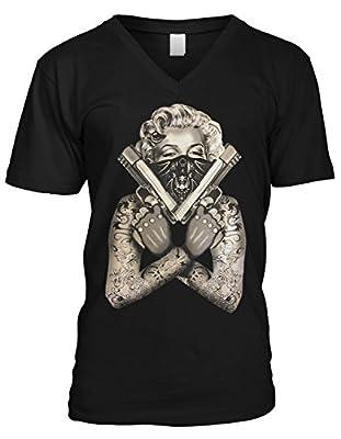 Amdesco Men's Marilyn Monroe Gangster Guns Tattoos V-Neck T-Shirt